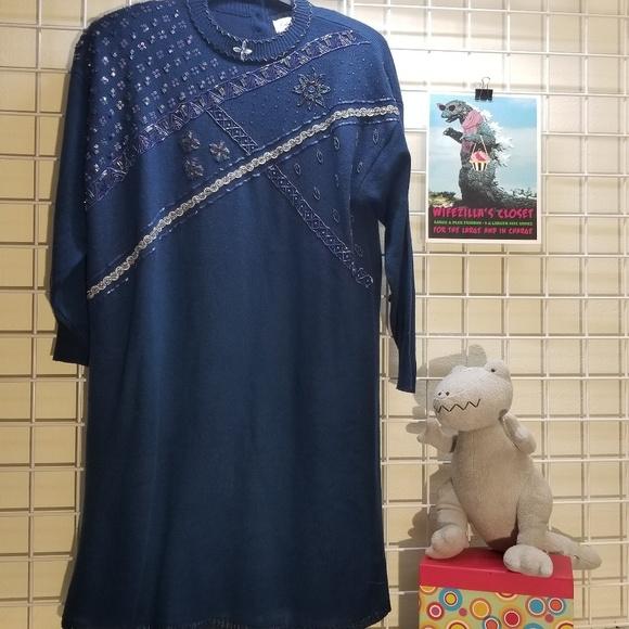 Lady Darian Dresses & Skirts - Lady Darian Blue Beaded Vintage Sweater Dress 1X.